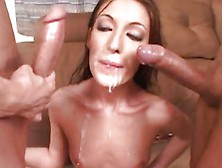 Joint Jizz Facial For Brunette