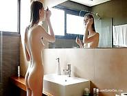 Beautiful Naked Cutie Masturbates In The Bathroom
