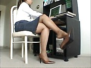 Ebony Milf Relaxes Her Stinky Pantyhose Feet After A Long Day At
