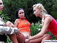 Slim Blonde And Her Dark Haired Friend Seduced A Voluptuous Poli
