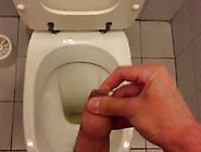 Hairy Uncut Cock Piss And Cum In College Bathroom