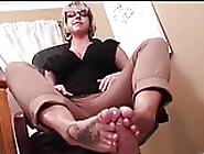 Cute Nerdy Girl In Glasses Footjob 41