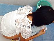 Japanese Brunette Pissing In The Public Toilet