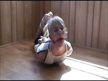 Cute Girl In Reverse-Prayer Hogtie,  Part 2