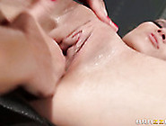 Big Tittied Lesbian Fucks Young Brunette With Strapon Device