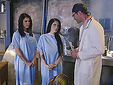 Doctor Treats His Two Sexy Patients With A Load Of Cum