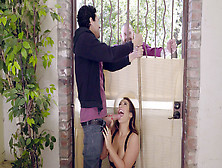 Eva Lovia Sucks Neighbor's Cock While He Is Speaking With Her Hu