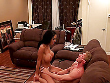 Big Tits Brunette Moaning When Riding Massive Dick Hardcore On S