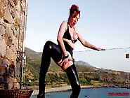 Mature British Redhead Masturbates On The Balcony With A Dildo