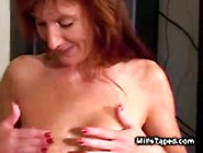 Sexy Red Head Milf In White Panties Playing With Big Boobs