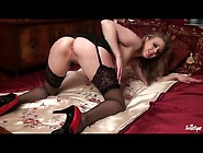 Stockings And Heels Are Hot On Masturbating Beauty
