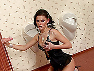 Hot Brunette Blows A Tool In The Glory Hole Inciting It To Cum O