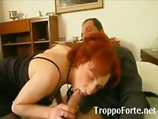 Busty Redhead Milf In Stockings Gets Tag Teamed