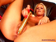 Sophie Moone Playing Her Twta With A Gold Toy Until She Cums