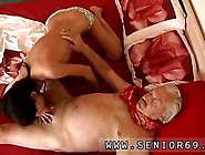 Teen Brunette In Cute Outfit Sucking An Old Mans Dick