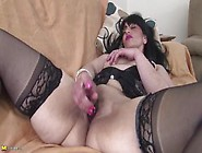 Hot Mature Brunette In Stockings Alyshia Fucks Her Pussy With A