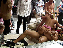 Beautiful Babes Get Furiously Gangbanged By A Bunch Of Horny Dud
