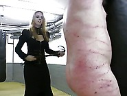Very Hot Redhead Mistress In Leather Whipping Tied Up Slave
