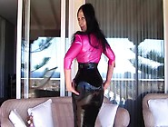 Sexy Busty Latex Diva On The Terrace - Blowjob Handjob With Long