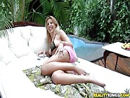 Precious Brazilian Hot Blonde Bruna Vieira On The Pool