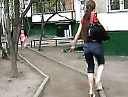 Public Pissing Video With Long-Haired Brunette Olga