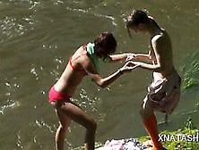 Natasha Shy And Beata Kissing And Stripping By The River