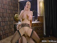 Big Boobed Blonde Office Slut In Stockings Loves A Cock In Her S