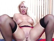 Mature Blonde Skank Fingers Her Pussy On The Floor
