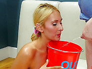 Submissive Blonde Slave Drinking Fresh Piss From A Bucket