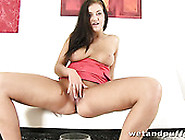 Big Breasted Brunette Sex Pot Fucks Her Kitty With Big Black Dil