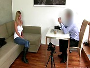 Euro Public Amateur At Casting Strips For Fake Agent