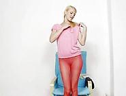 Fascinating Kasia Inserts Her Gash Plus Scarlet Panty-Hose