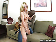 Blond Horny Bitch With Big Tits Sucks Enormous Black Penis With