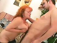 Big Breasted Redhead Granny In Black Stockings Orgasms On A Stif