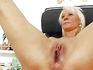 Golden-Haired Dame Receives A Gyno Test