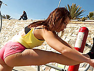 Sporty Girl Works Out At The Beach And Fucks In The Hotel Room