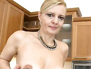 Skinny Housewife Does Striptease In The Kitchen