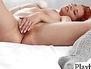 Massive Tits Redhead Babe Masturbates Her Hairy Pussy