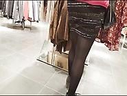 Shopper In Shiny Black Opaque Pantyhose