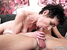 Horny Granny Enjoys In A Strong Foreplay And Then Hump On Her Lo