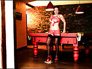 Big Breasted Brunette Milf In Sexy Red Lingerie Spins On The Bil