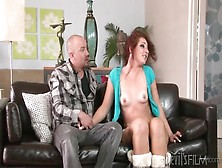 Fuzzy Boots On Small Tits Girl Sucking Dick
