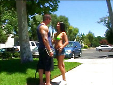 Perverted Sporty Brunette Has Nothing Against About Being Pile D