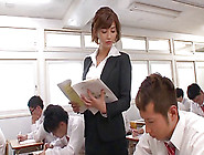 Delicious And Nasty Japanese Teacher Is Being Gang Banged By Her