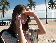 Brunette Beach Babe Picked Up And Pounded On Camera