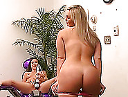Curvy Blonde And A Slim Brunette Enjoy Playing With Fucking Mach