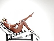 Luscious Jennifer Vaughn Poses Lying On A Lounge Chair