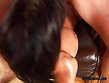 Dirty Minded Woman With Black Hair Likes To Use Her Tits While H