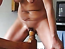 Riding Wooden Bedpost In The Morning On Home Self Made Video