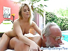 Amateur Teen Fucks Old Man By The Pool